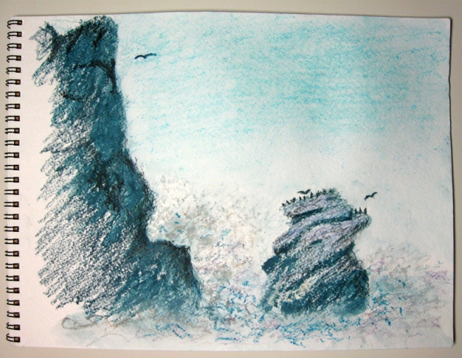 """sketch of Morro Rock 021213"" ~ sld"